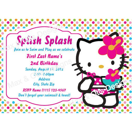 personalized hello kitty swim party invitation in bright polka dot colors other colors and designs - Hello Kitty Party Invitations