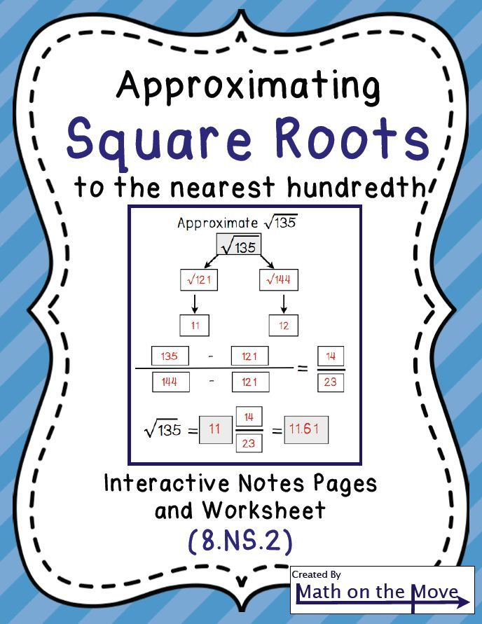 Interactive notes, practice and worksheet for approximating square ...