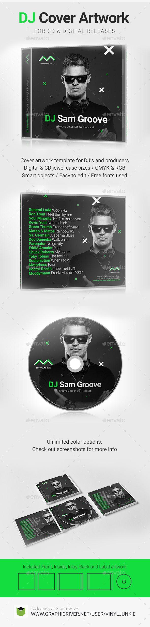 grooveline dj mix album cd cover artwork psd template cd