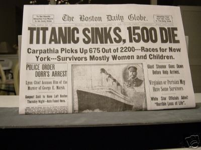 Newspaper Report Of The Sinking Of The Titanic  Titanic