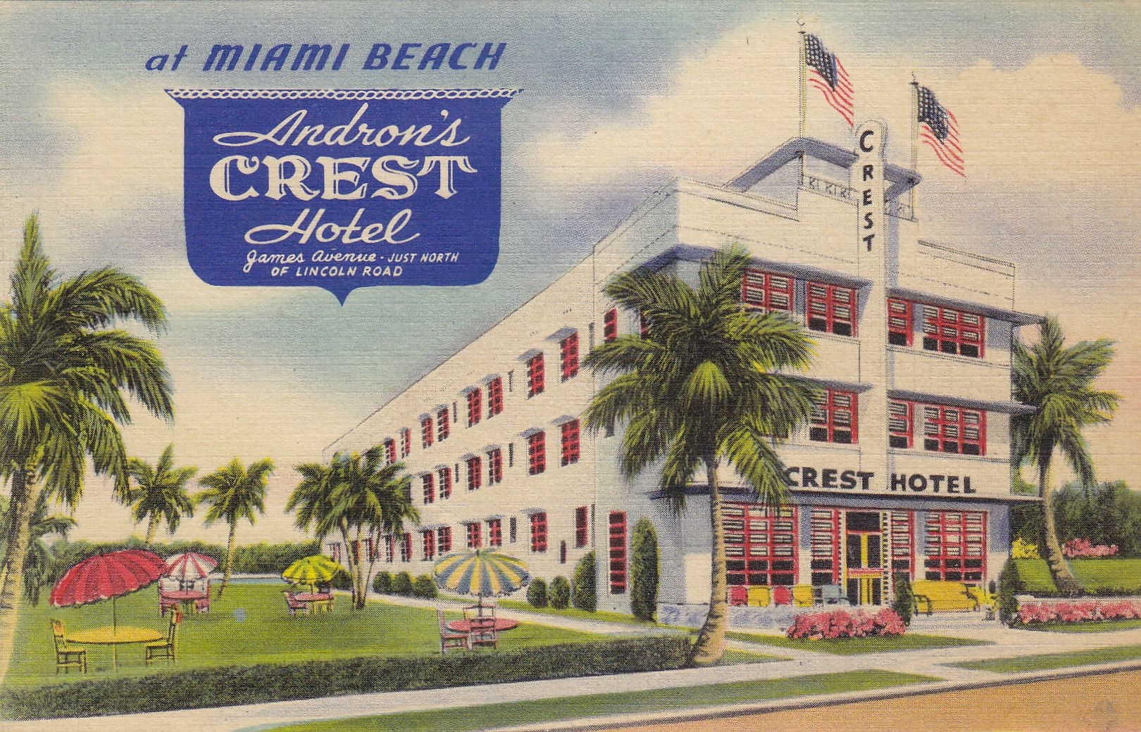 Andron S Crest Hotel On James Avenue Miami Beach Fl With Images