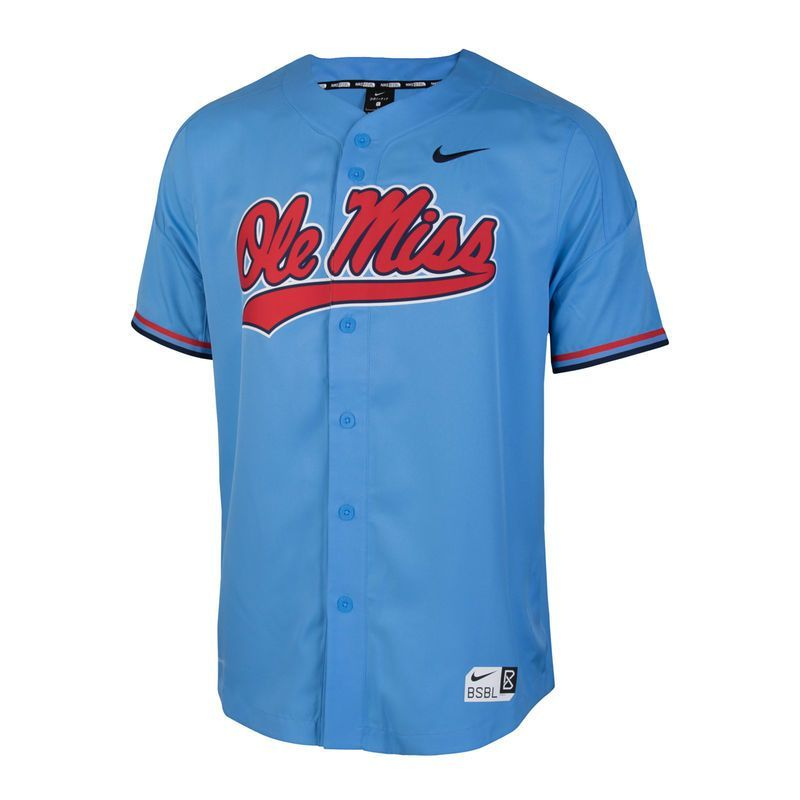 Ole Miss Rebels Nike Vapor Performance Baseball Jersey Light Blue Ole Miss Rebels Nike Men Ole Miss
