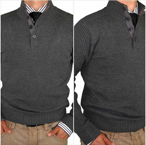 Luciano Natazzi Mens Mock Neck Ribbed Long Sleeve Fitted Sweater ...