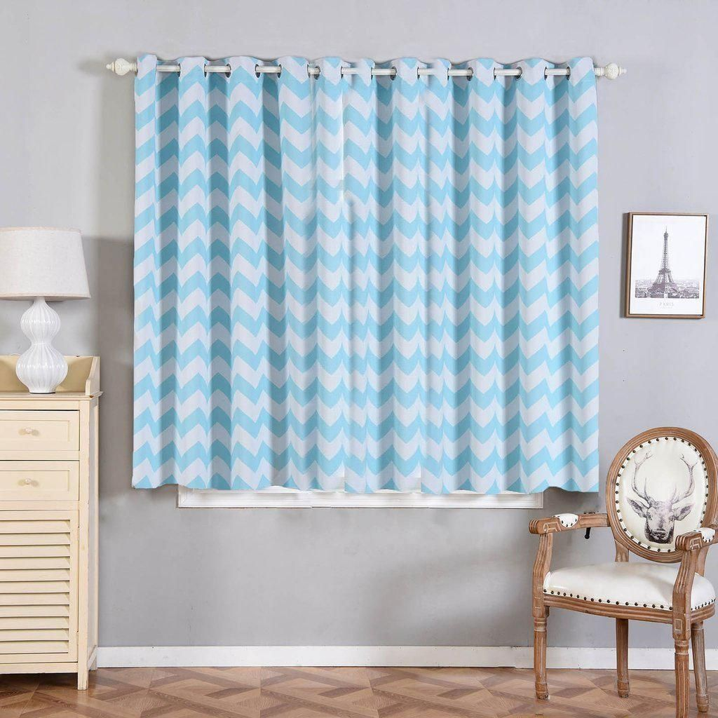 Chevron Blackout Curtains Pack Of 2 White Baby Blue Chevron