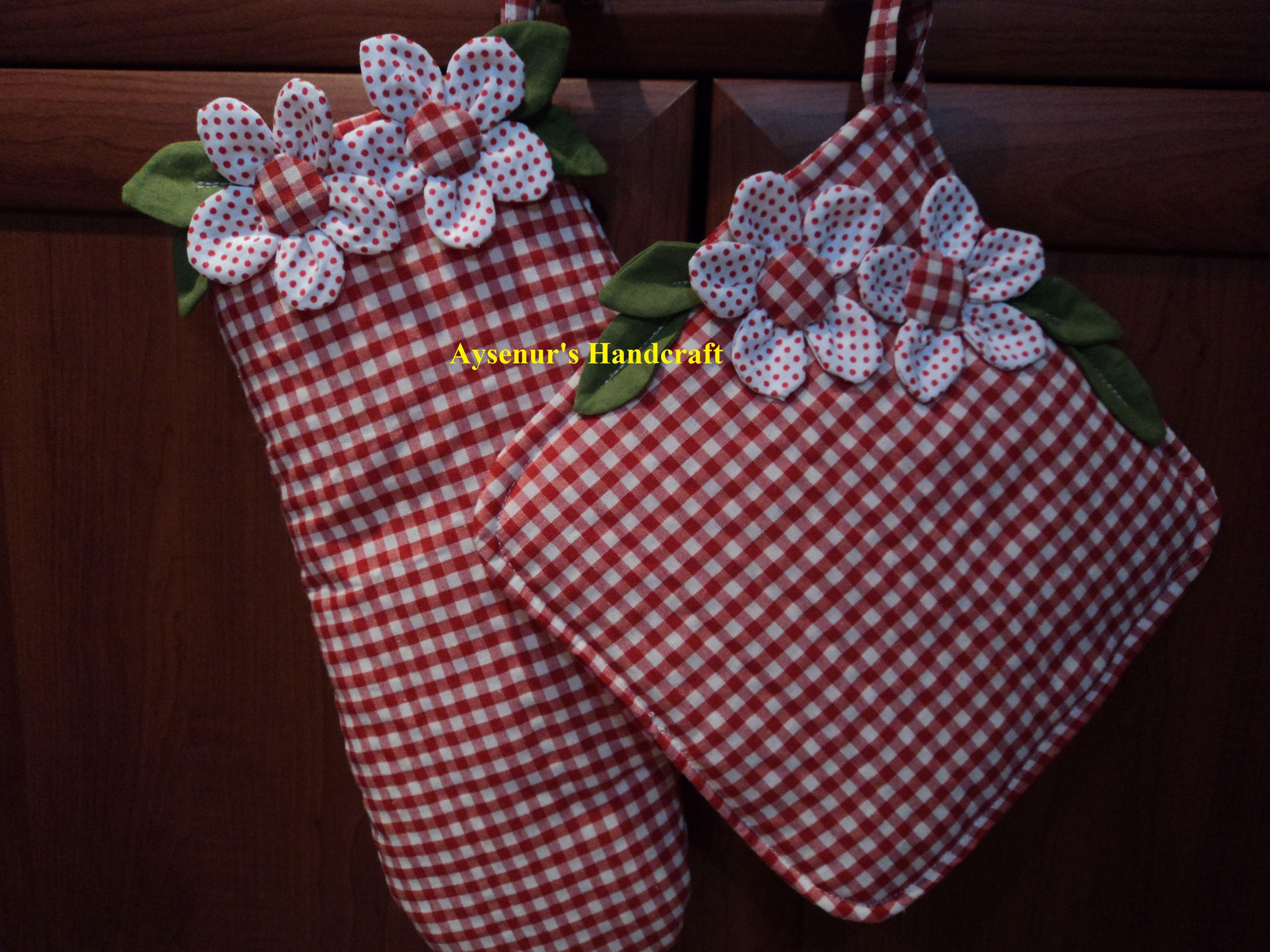 çiçekli fırın eldiveni ve tutacak