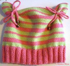 Красивая детская шапка спицами с описанием   Вязаные ...