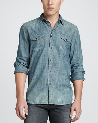 Distressed Chambray Shirt by 7 For All Mankind at Neiman Marcus.