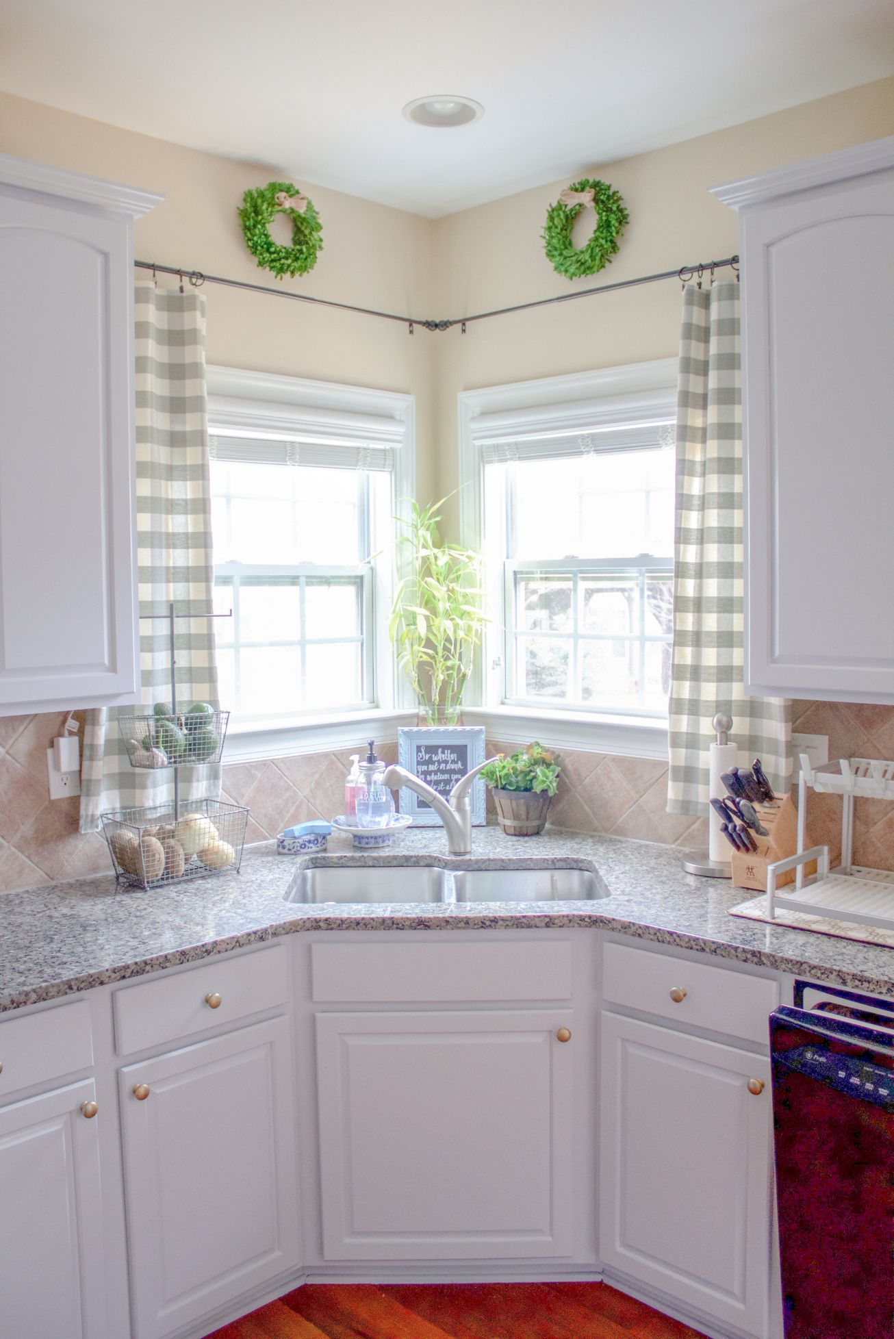 Kitchen window treatments corner window curtains window for House plans with kitchen sink window