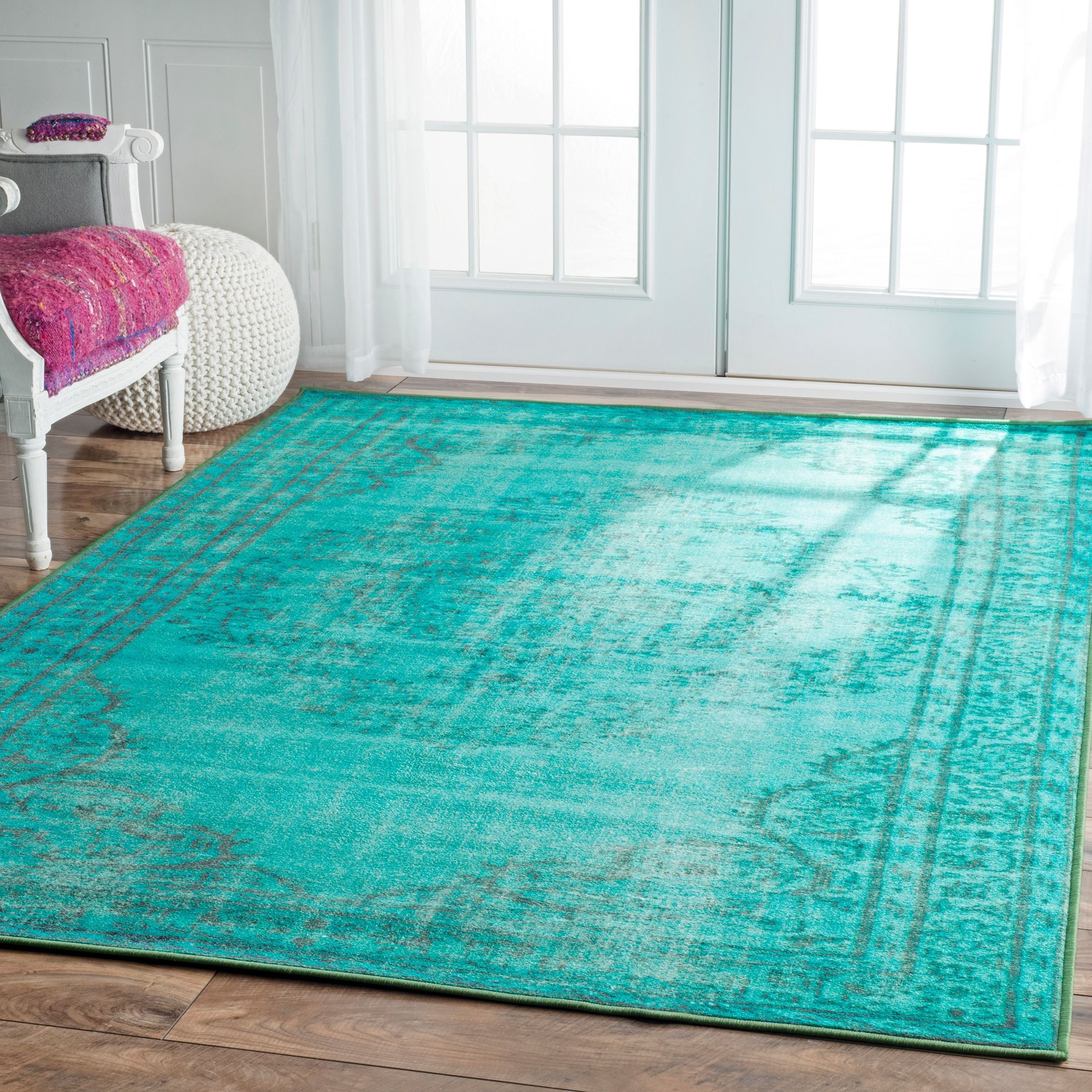 Shop Nuloom Traditional Persian Fancy Aqua Rug: Vibrant Overdyed Rugs, These Machine Woven Rugs Are Easy