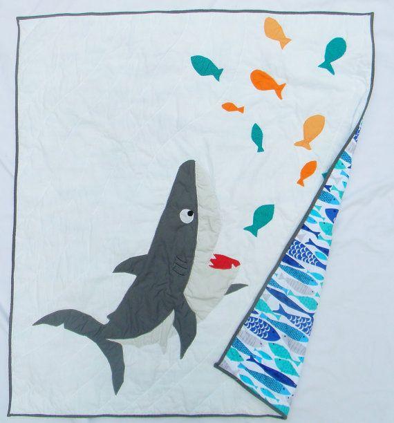 Shark baby quilt - Shark crib quilt - Shark crib bedding item ... : custom baby quilts - Adamdwight.com