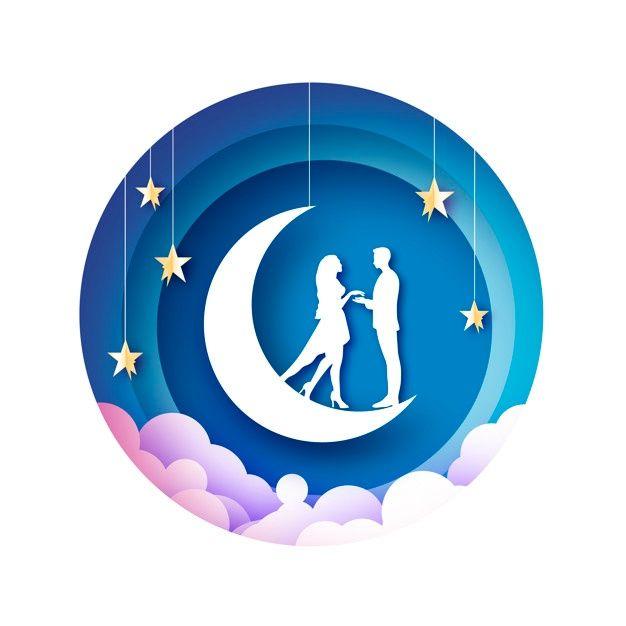 Photo of White Romantic Lovers On Moon Papercut Illustration