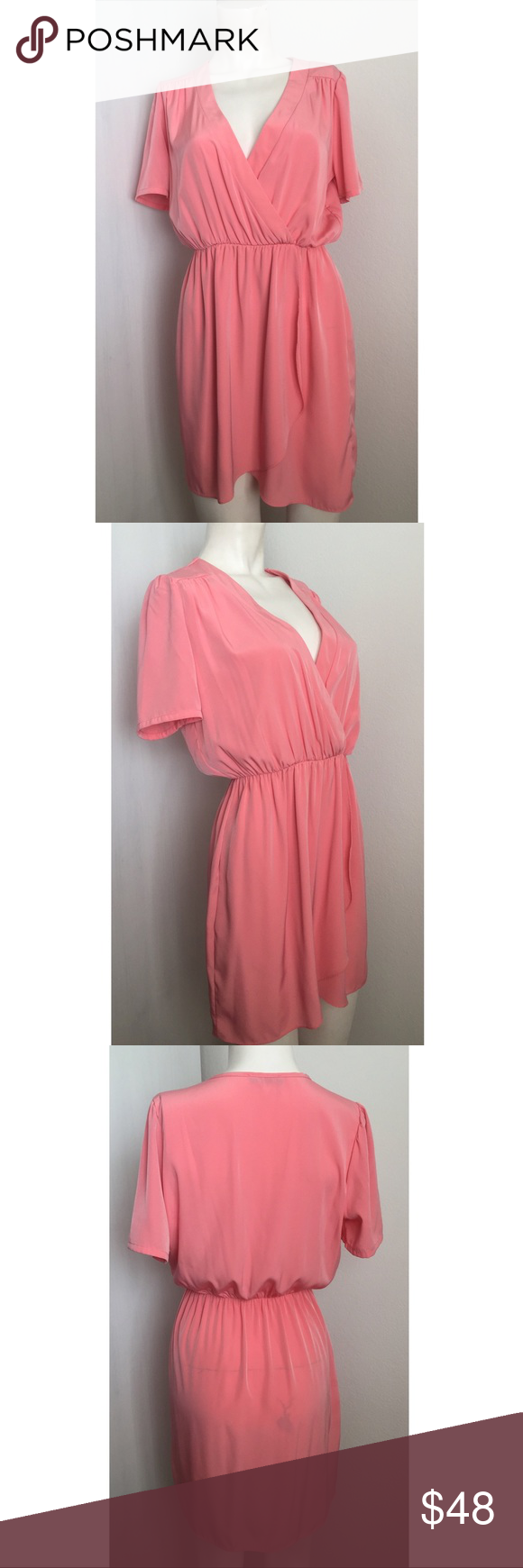 Honey punch pink wrap front dress wrap front dress wrap style and