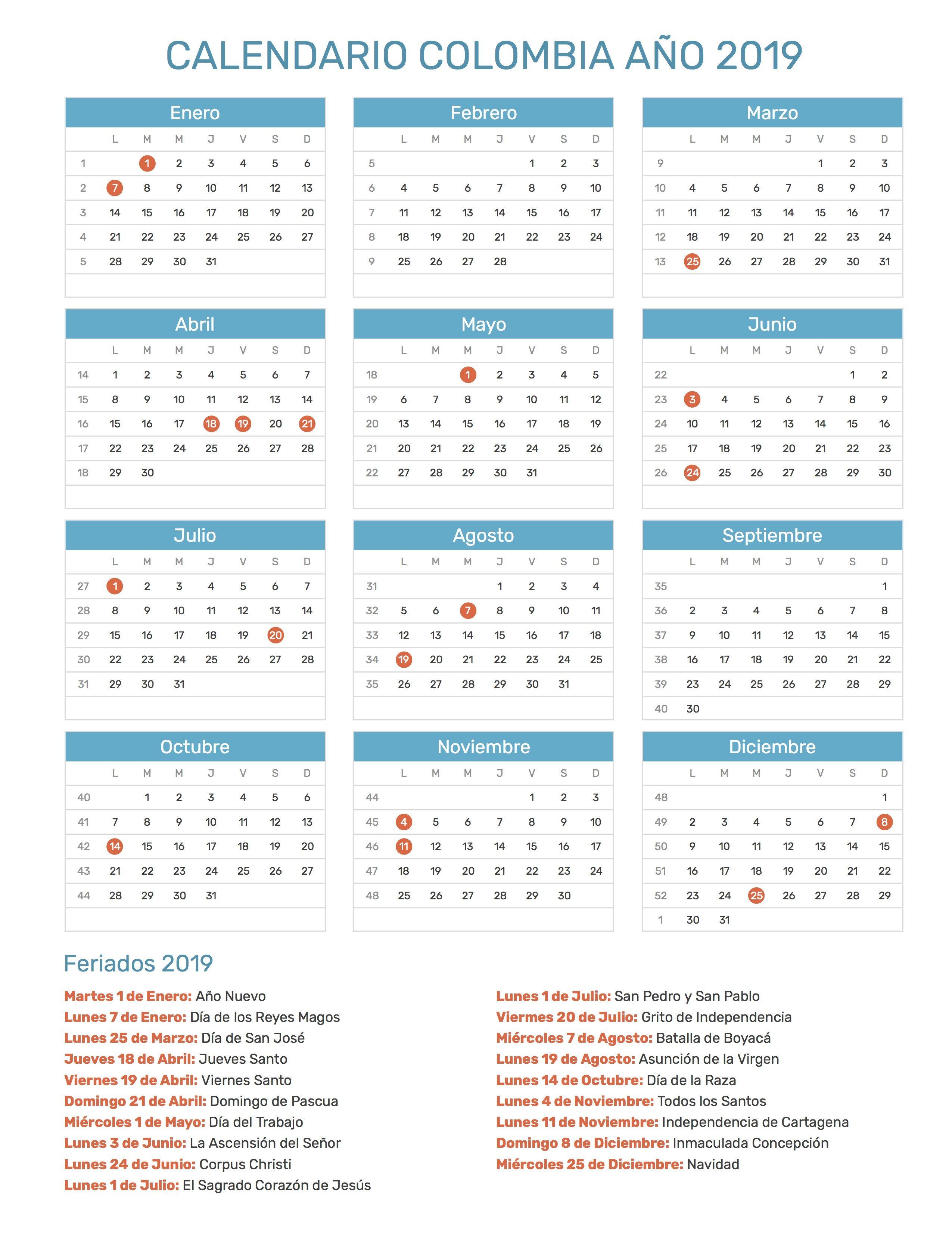 Calendario Escolar 2020 Colombia.Resultado De Imagen Para Calendario 2019 Colombia Con
