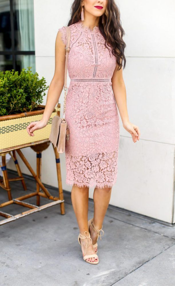 Beautiful Pink Lace Sheath Dress For Spring Or Wedding Season Beautyblog Makeupoftheday Baby Shower Dresses Bridal Shower Outfit Baby Shower Outfit For Guest