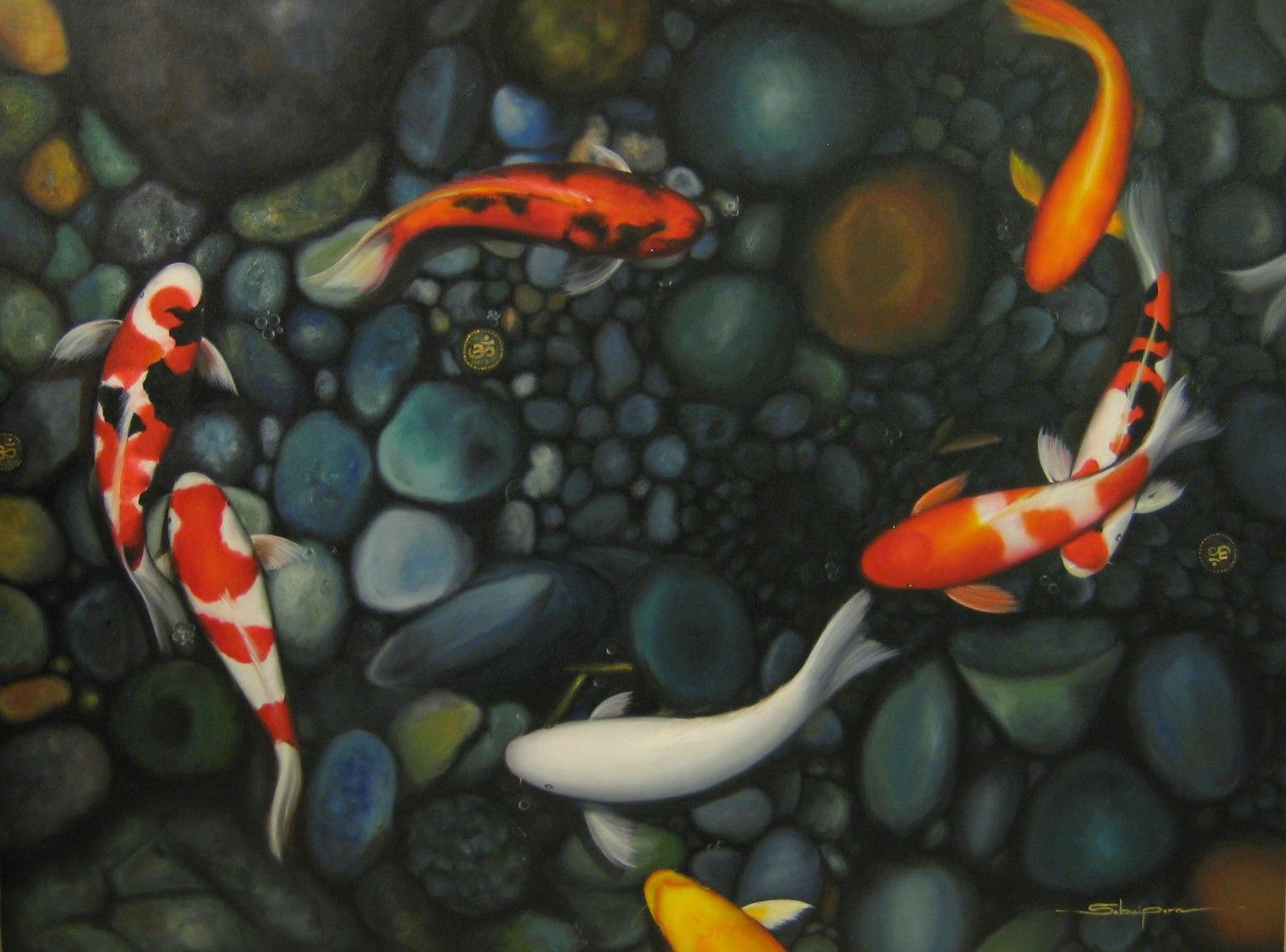 Koi fish pond drawing vbldqfueb painting ideas for Freshwater koi fish