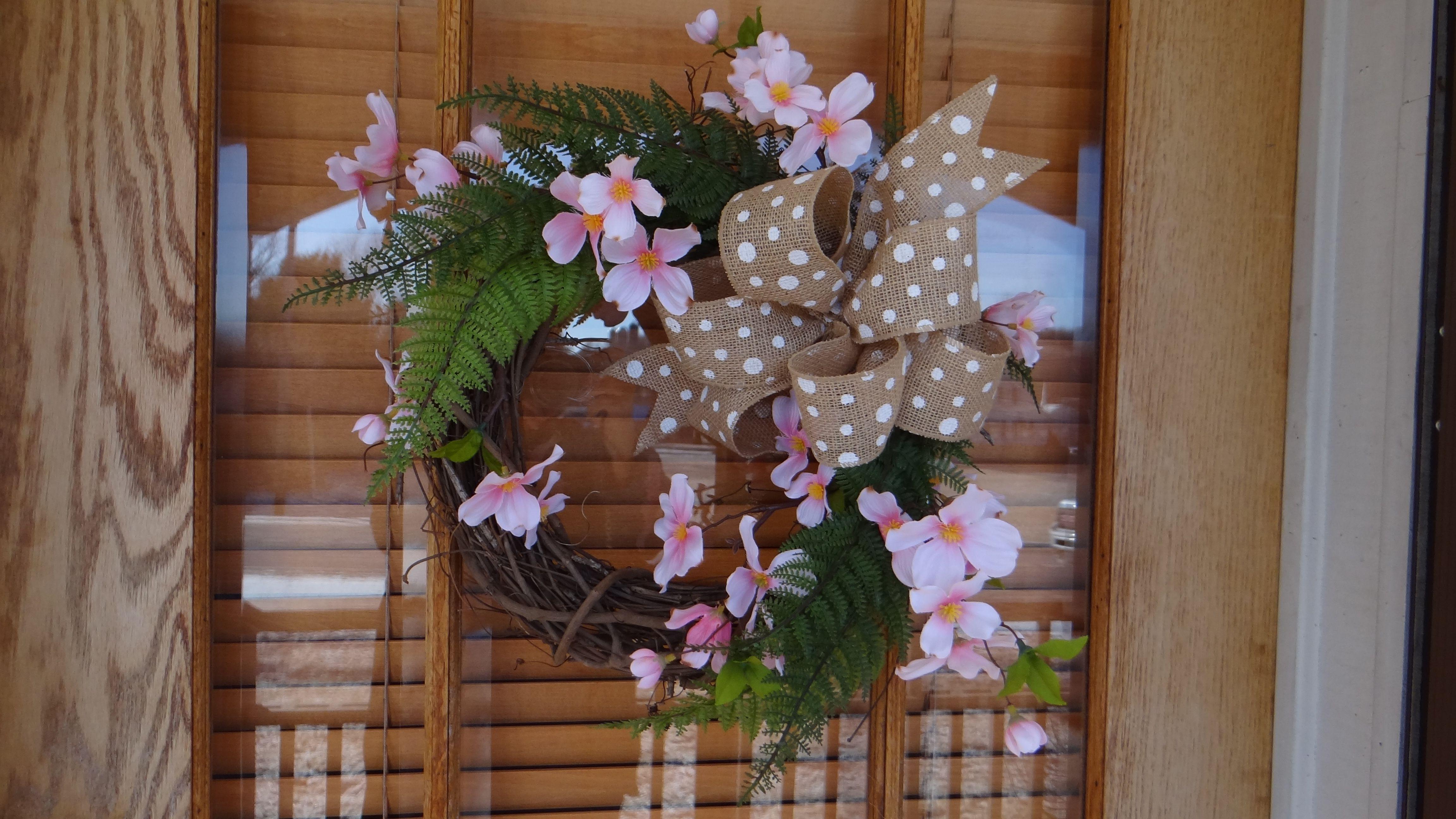 Fern And Dogwood On Grapevine Wreath Silk Flower Design Arrangement