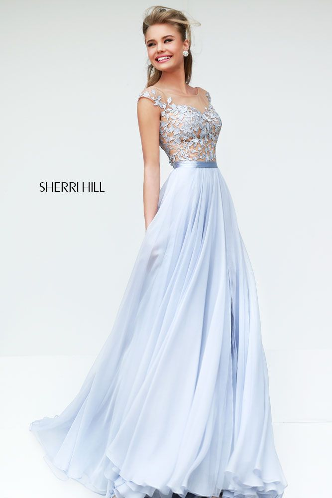Sherri Hill 11151 Long Lace Gown in Silver/Nude - We LOVE this dress! My  Cinderella dress