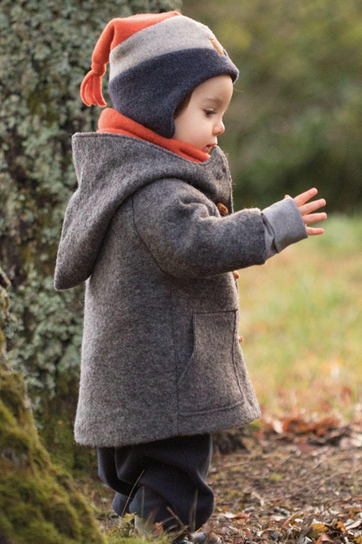 Kinder Mantel Dufflecoat mit Kapuze Wollwalk walnuss von