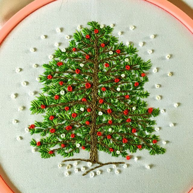 Christmas Tree Hand Embroidery Kit Winter Christmas Etsy Hand Embroidery Kit Embroidery Kit Etsy Embroidery Kits