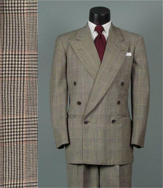 Vintage 1940s Mens Suit Glen Plaid 6 x 1 Double by jauntyrooster ...