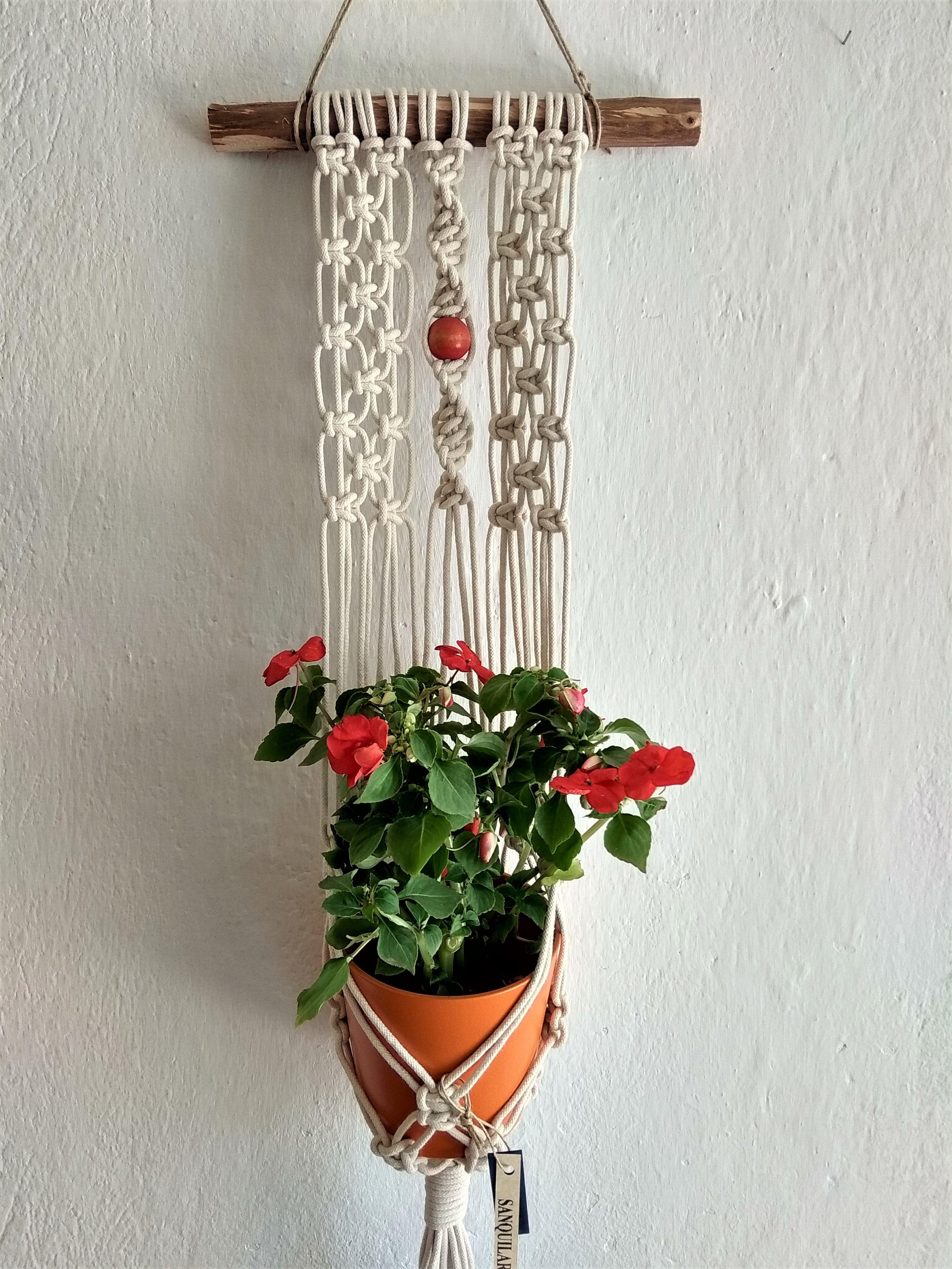 Macrame Plant Holder  Small Succulent Hanger  Modern Home Decor  4-6 Plant Pot  Fiber Art