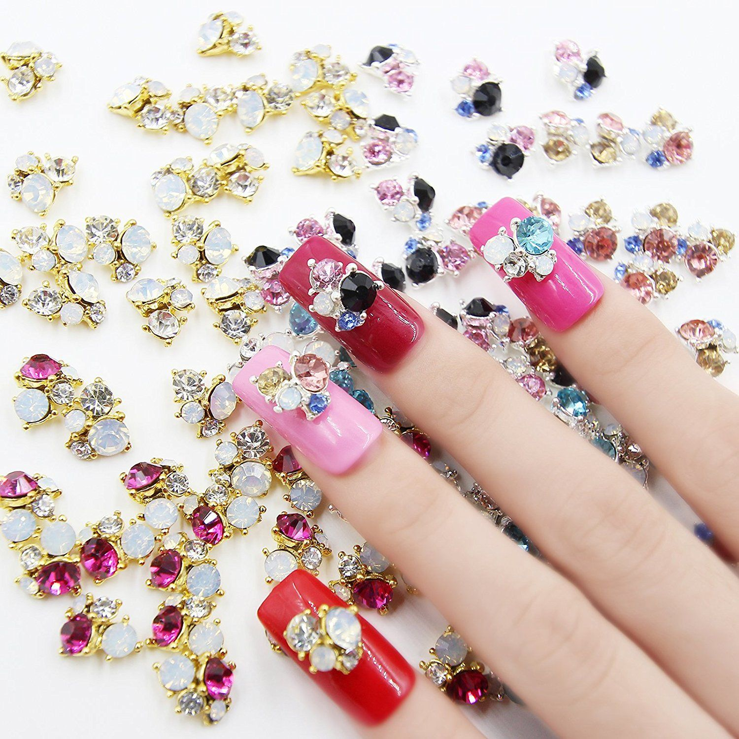 Perfect Summer 30pcs Sets 3D Nail Art Cell Phones Colorful Crystal ...