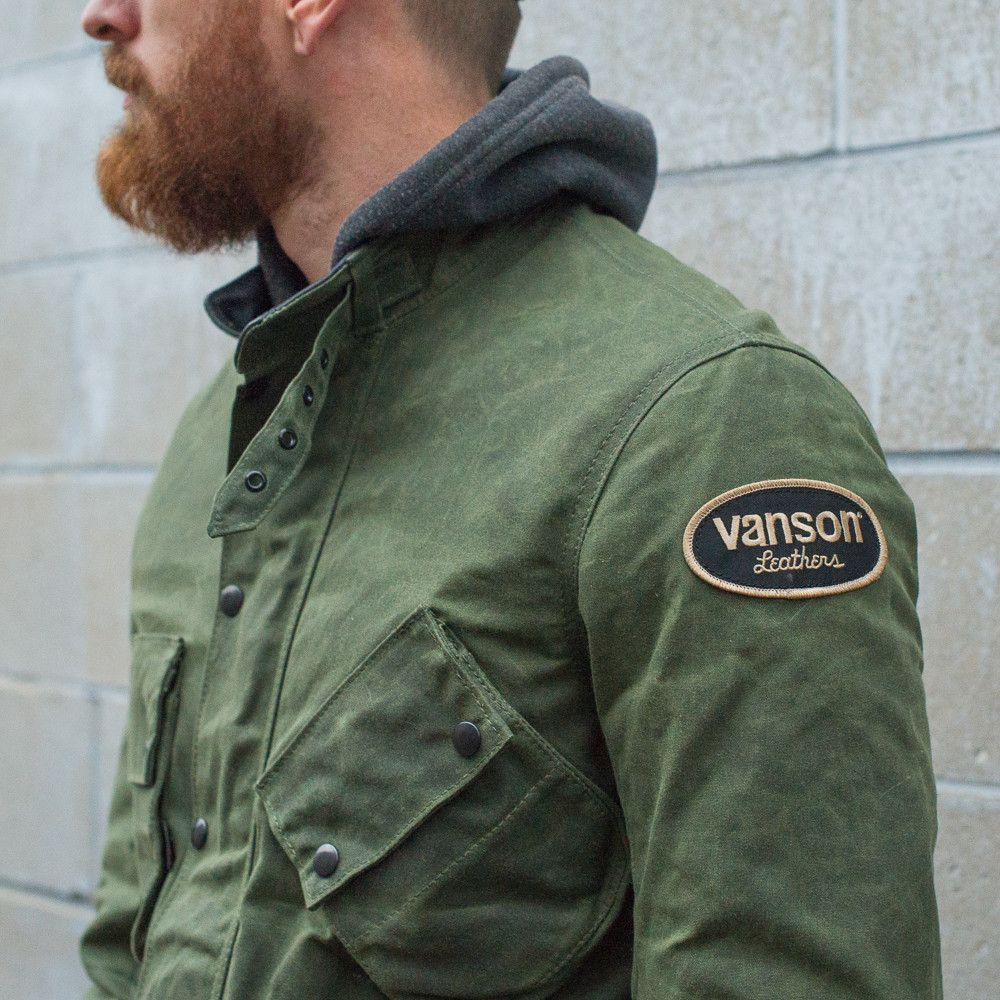 819cd51d7 Vanson Stormer Waxed Canvas Jacket - Olive in 2019 | clothing ideas ...