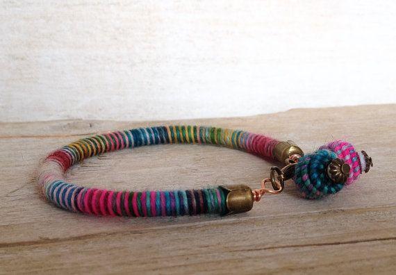 Rope Bracelet Hippie Fiber Bracelet Unique by jimenasjewelry