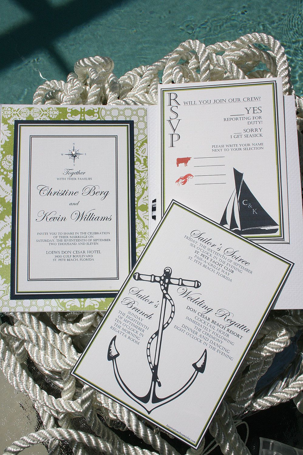 Nautical Wedding Invitations - Tying the Knot | Nautical wedding ...