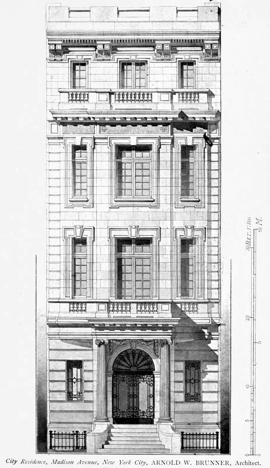 Inside House Drawing: Elevation For A Residence On Madison Avenue, New York City