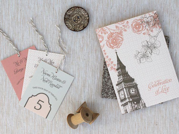 Pink Gray London Skyline Wedding Invitations 500x375 Deanna + Bens London Skyline Wedding Invitations