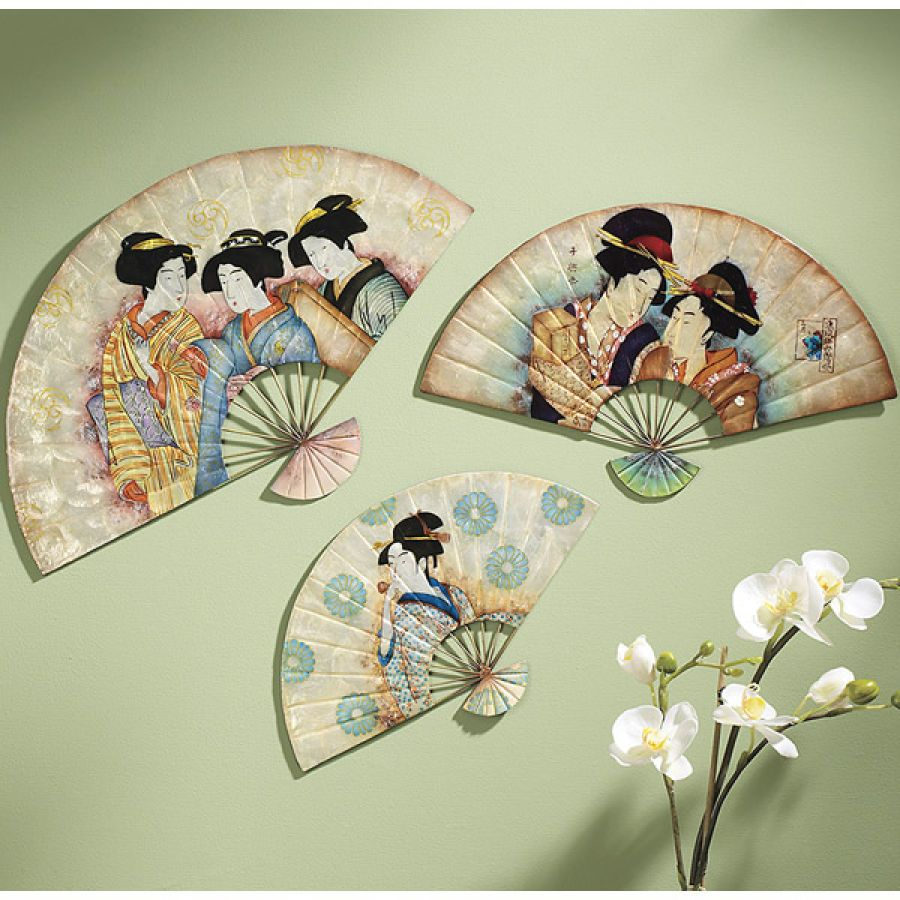 Set Of Three Japanese Fans Wall Art Japanese Wall Decor Japanese Fan Vintage Fans