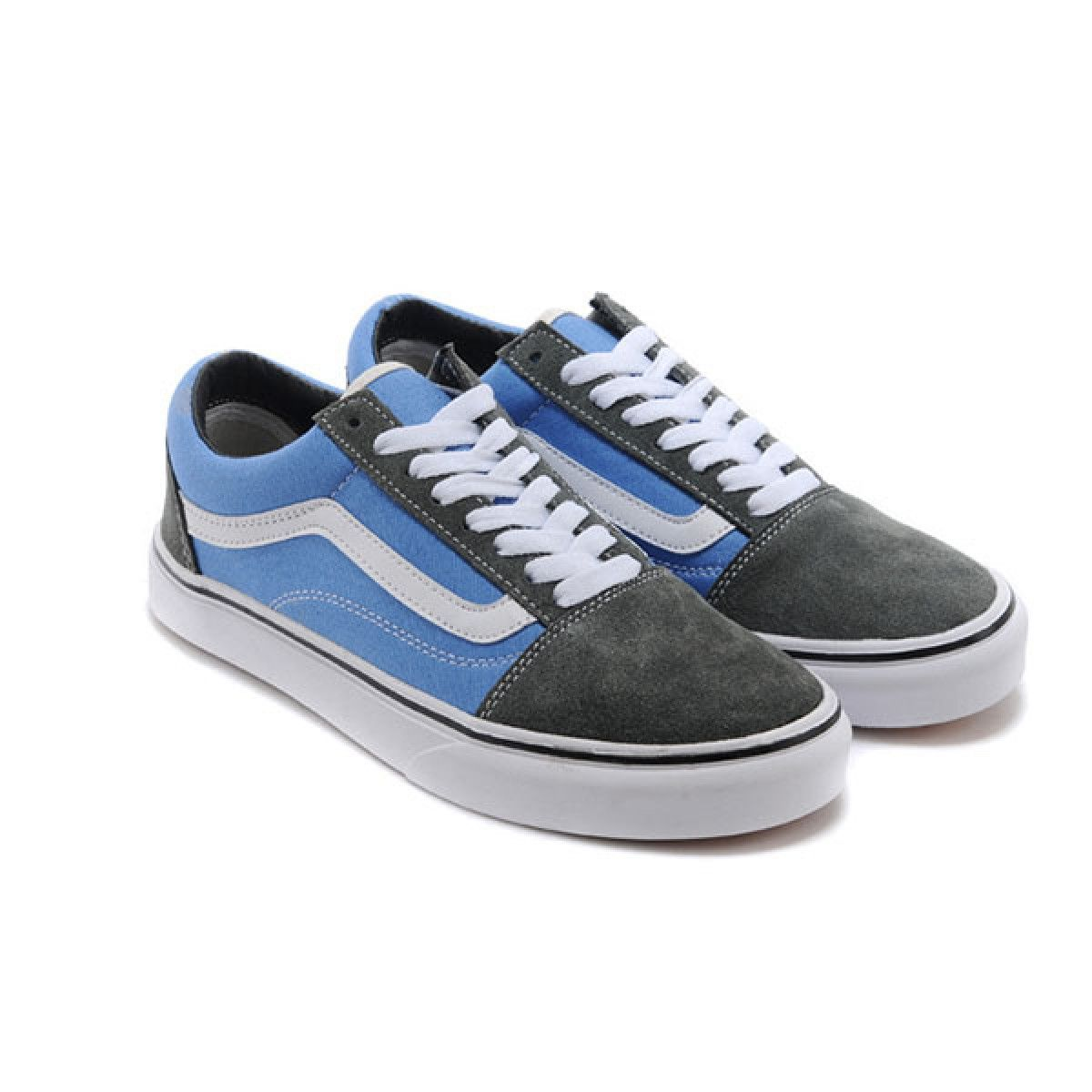 a13b78343ad9 Vans Shoes Grey Blue Two-Tone Old Skool Shoes Unisex Classic Canvas ...