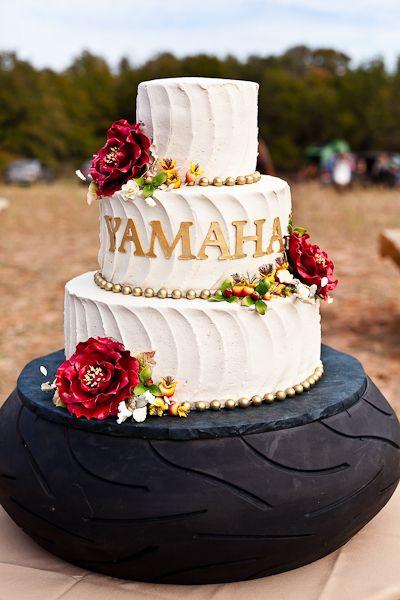 Vintage outdoor wedding, wedding cake, tire cake stand, #Weddings #vintage #rustic elegant outdoor wedding