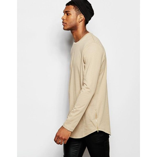 ASOS Longline Long Sleeve T-Shirt With Curve Hem And Zip In Beige ...