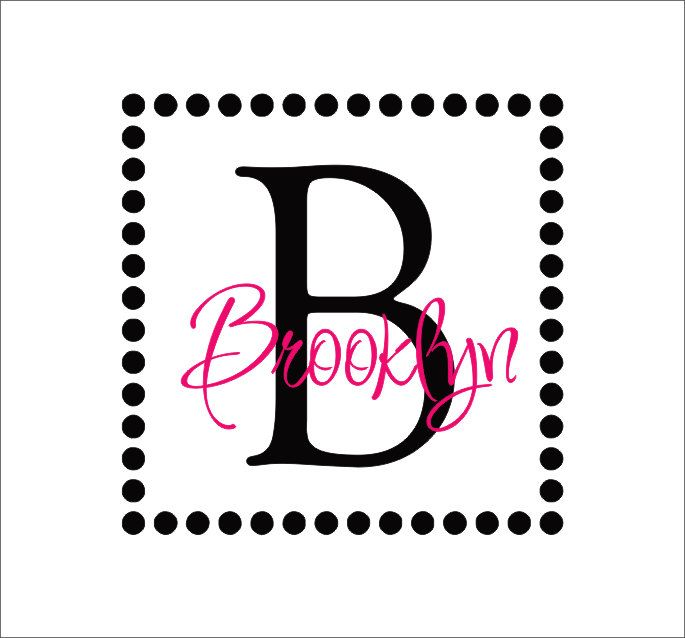 Vinyl Decals Name Initial Dot Square Border Monogram Vinyl Decal - Custom vinyl decals brooklyn
