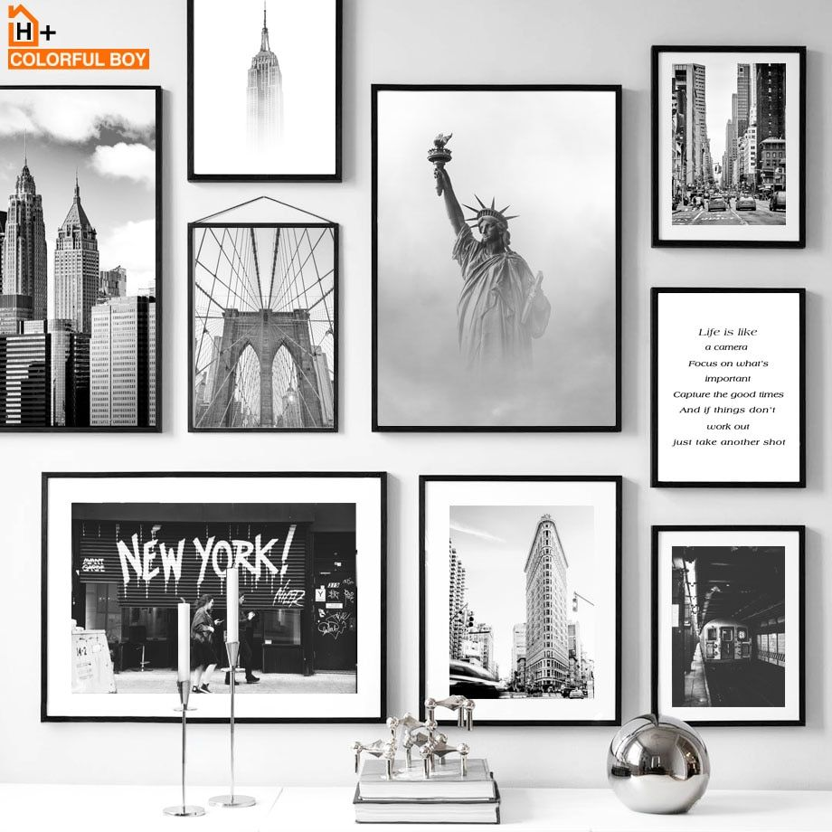 New York Statue Of Liberty Black White Nordic Posters And Prints Wall Art Canvas Painting Wall Pictures In 2020 Black And White Wall Art Cafe Wall Art Poster Wall Art