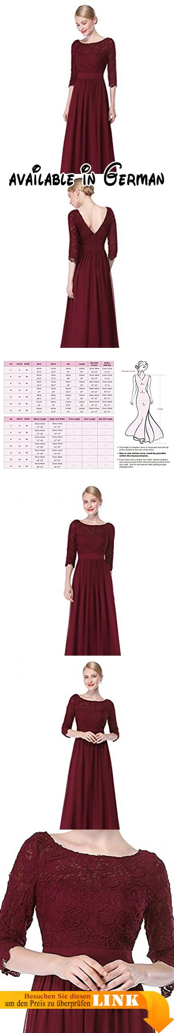 Ever Pretty Damen Elegant 3/4 Aermel Lace Lang Abend Kleider 44 ...