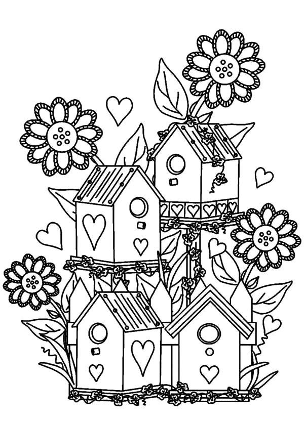 Bird House, Bird House at Flower Garden Coloring Pages