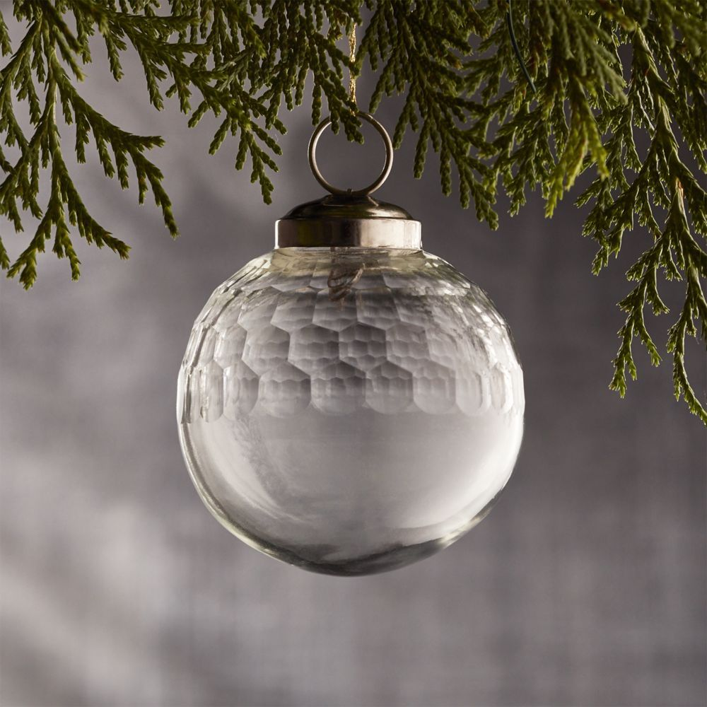 Clear glass ball ornaments - Shop Alexandra Clear Glass Ball Ornament Handcrafted Clear Glass Ball Ornaments Have A Vintage Feel Carved With A Honeycomb Pattern The Ornaments Make A