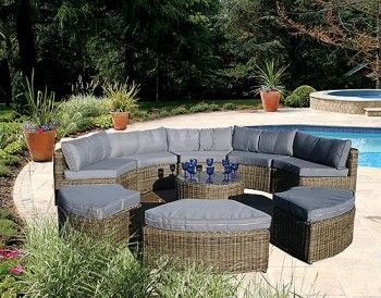 Bridgman Garden Furniture   Curved Modular Rattan Garden Furniture Set   9  Piece
