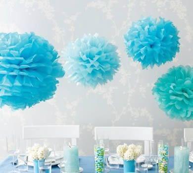 decoração de festa com pompom azul turquesa - Pesquisa Google