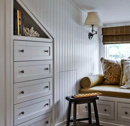 built in dressers in the upstairs bedrooms where the closets are