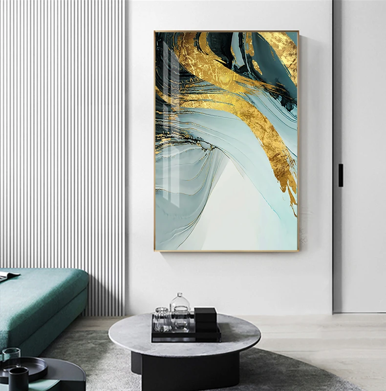 Modern Luxury Abstract Wall Art Golden Blue Luxury Pictures For Office Living Room Or Bedroom Decor Canvas Art Wall Decor Large Canvas Wall Art Modern Wall Decor Bedroom