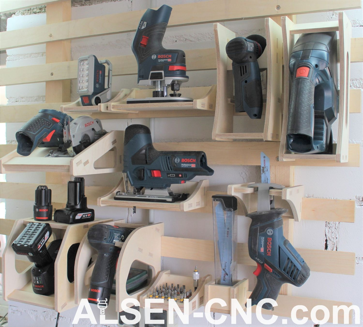Photo of www.alsen-cnc.com french cleat bosch ; drill ; charger ; jig saw ; LED ; storage…