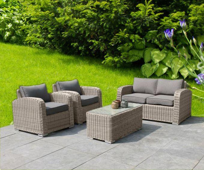 Salon de jardin résine tressée ronde - TARA OSIER/NOIR | Furniture ...