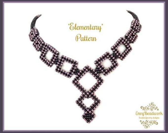 """Beading Pattern : """"Elementary"""" Necklace in English D.I.Y."""