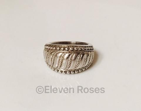 Retired Classic Judith Ripka 925 Sterling Silver Rope Textured Dome Statement Ring Size 6