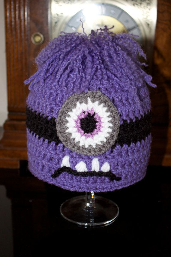 Crochet Purple Despicable Evil Minion Inspired Hat Halloween Photo