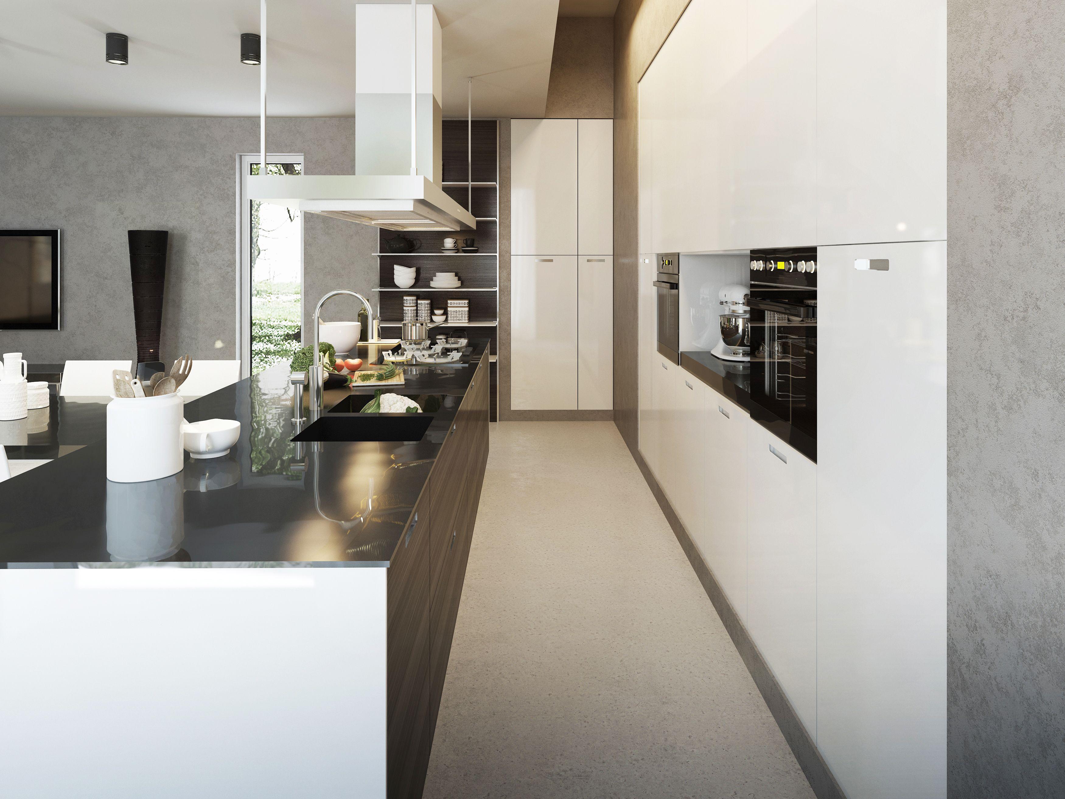 Nowoczesna Minimalistyczna Aranzacja Drewnianej Bialo Brazowej Kuchni Z Czarnymi Blatami Nad Wyspa Kuchenna Okap Wraz Z Oswietleniem Kitchen Home Decor Home